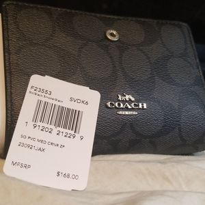 NWT Authentic Coach Black Smoke Wallet